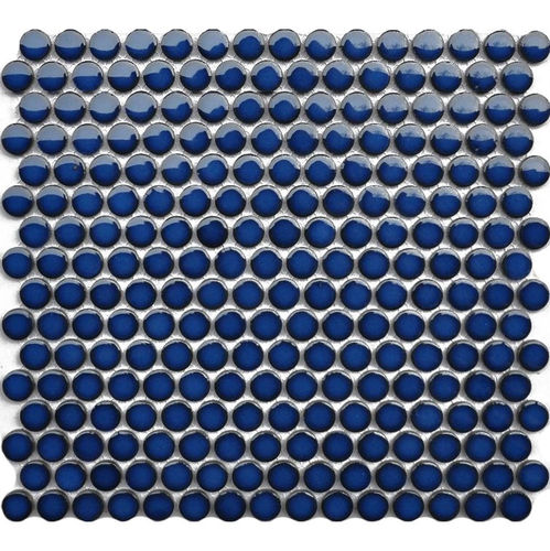 Penny Round Crystal Blue Gloss Mosaic