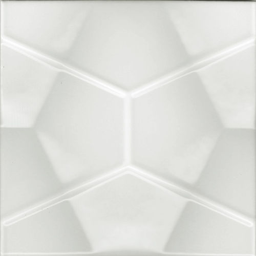 3D White Geo Gloss Wall Tile 200x200