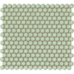 Penny Round Soft Green Gloss Mosaic