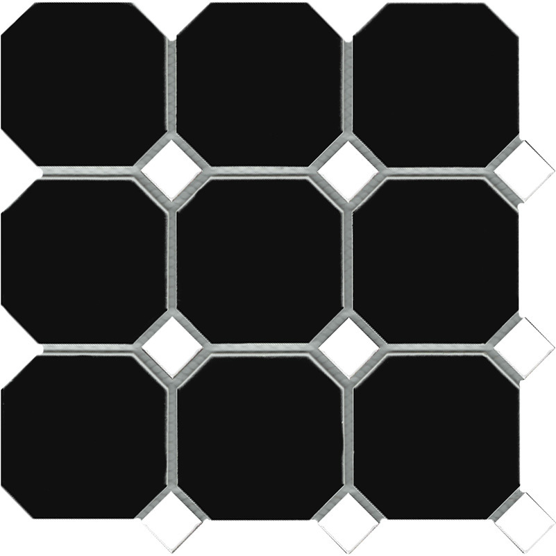 Octagon Black With White Dot Floor Tile Tile Stone Paver