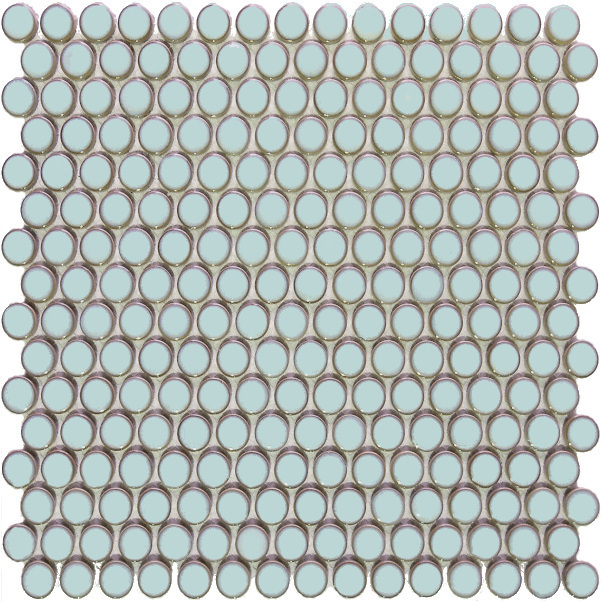 Penny Round Pale Blue Gloss Mosaic