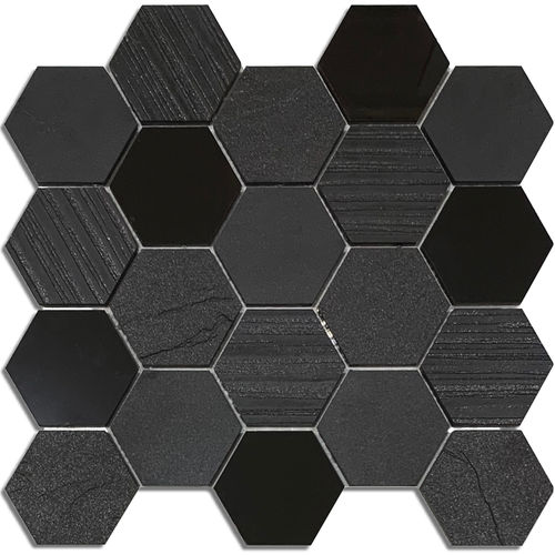 Black Hexagon Mix Mosaic 72x82