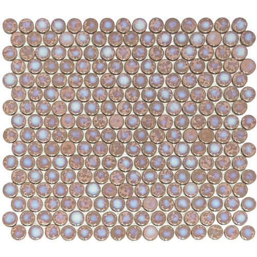 Orbit Penny Round Coral Gloss Mosaic